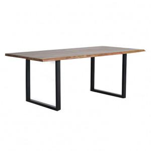 Masa dining maro/neagra din lemn de salcam si metal 100x160 cm Frey Giner y Colomer