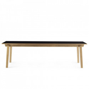 Masa dining maro/neagra din lemn si linoleum 90x250 cm Slice Normann Copenhagen