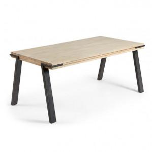 Masa dining maro/neagra din lemn si metal 90x160 cm Disset La Forma
