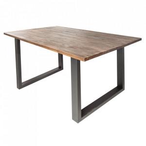 Masa dining maro/neagra din lemn si metal 90x180 cm Wotan II Invicta Interior