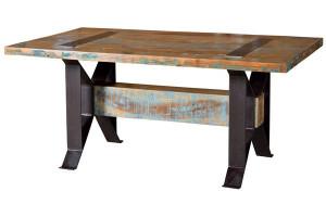 Masa dining multicolora din lemn reciclat si fier 100x165 cm Fridge Giner y Colomer