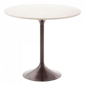 Masa dining neagra/alba din marmura si aluminiu 92 cm Havra Denzzo