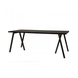 Masa dining neagra din lemn de stejar si fier 90x200 cm Waregem Lifestyle Home Collection
