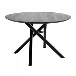Masa dining neagra din lemn de stejar si metal 118 cm Connor Bloomingville