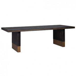 Masa dining neagra din lemn si inox 100x220 cm Hunter Richmond Interiors