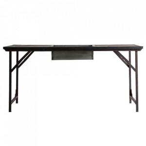 Masa dining pliabila maro/neagra din lemn si fier 61x155 cm Nis Vical Home