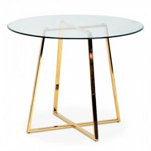 Masa dining rotunda din metal auriu cu blat sticla 97 cm Frank Opjet Paris