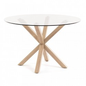 Masa dining rotunda din metal maro cu blat sticla 119 cm Arya La Forma