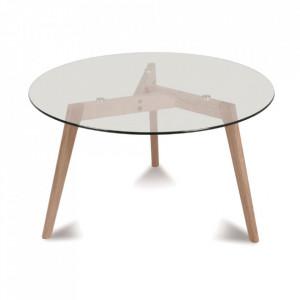 Masa dining transparenta/maro din sticla si lemn 100 cm Fiord Round Opjet Paris