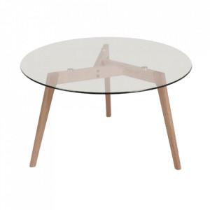 Masa dining transparenta/maro din sticla si lemn 110 cm Fiord Round Opjet Paris