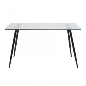 Masa dining transparenta/neagra din sticla si metal 80x140 cm Wilma Actona Company