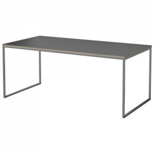 Masa neagra/argintie din lemn si inox pentru cafea 60x120 cm Como Bolia