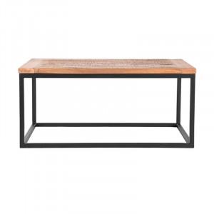 Masa neagra/maro din lemn si metal pentru cafea 65x100 cm Berry Box LABEL51