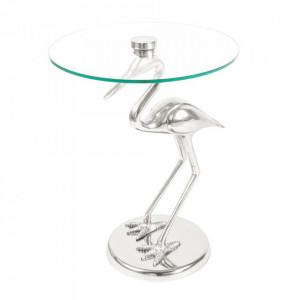 Masuta argintie din sticla si aluminiu 40 cm Animality Kayoom