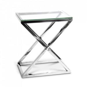 Masuta argintie din sticla si inox 42x62 cm Criss Cross Eichholtz