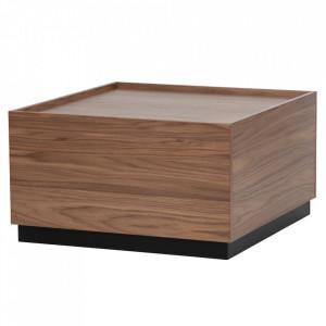 Masuta cafea maro din lemn de pin 82x82 cm Block Woood