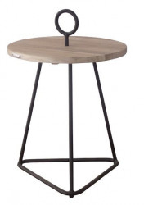 Masuta cafea maro/gri din lemn si aluminiu pentru exterior 49 cm Palm Beny Grey LifeStyle Home Collection