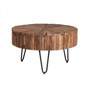 Masuta de cafea maro/neagra din lemn si fier 70 cm Tarak Somcasa