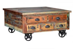 Masuta maro din lemn reciclat si fier 90x90 cm Verrier Giner y Colomer