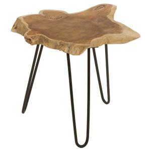 Masuta maro/neagra din lemn de tec si metal 50x50 cm Kanton Santiago Pons
