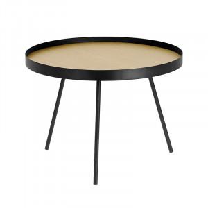 Masuta neagra/maro din lemn si metal pentru cafea 60 cm Nenet Kave Home