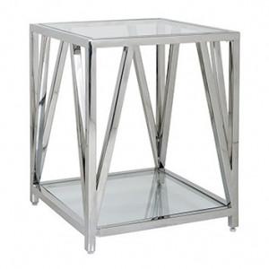 Masuta transparenta/argintie din sticla si inox 50x50 cm Paramount Richmond Interiors