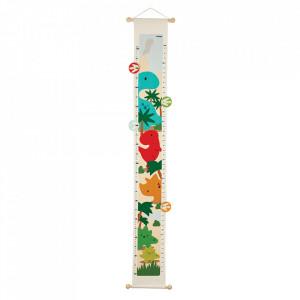 Metru de perete multicolor din textil si lemn Dino Plan Toys