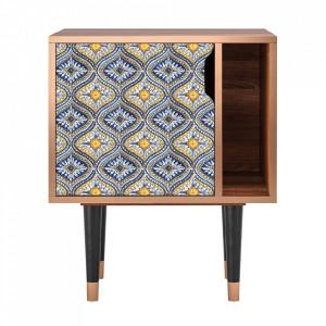 Noptiera multicolora din MDF si lemn Illusory Pattern Furny