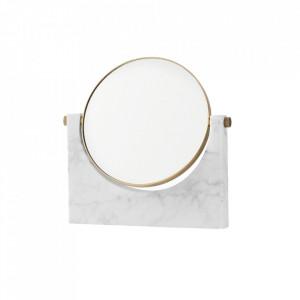 Oglinda cosmetica alba/maro alama din marmura si alama 25x26 cm Pepe Menu