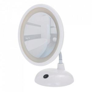 Oglinda cosmetica de masa cu LED rotunda alba din metal 17x28 cm Sade Wenko