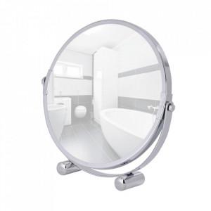 Oglinda cosmetica de masa rotunda argintie din metal 19 cm Mera Wenko