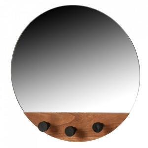 Oglinda cu agatatori maro din MDF 40 cm Tyler Woood