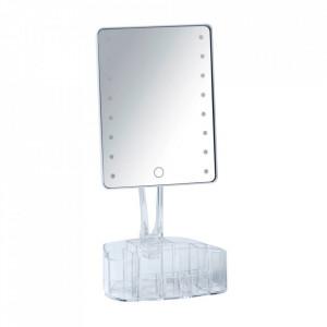 Oglinda de masa cu LED dreptunghiulara transparenta din plastic 17x36 cm Trenno Wenko