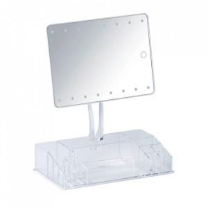 Oglinda de masa cu LED dreptunghiulara transparenta din plastic 27x36 cm Farnese Wenko