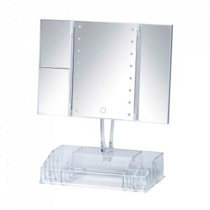 Oglinda de masa cu LED dreptunghiulara transparenta din plastic 34x39 cm Fanano Wenko