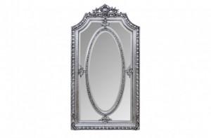 Oglinda dreptunghiulara argintie cu rama din lemn 118x207 cm Baroque Versmissen