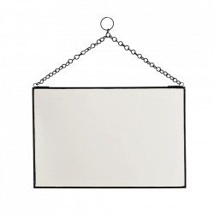 Oglinda dreptunghiulara neagra din fier si sticla 20x30 cm Mlima Madam Stoltz