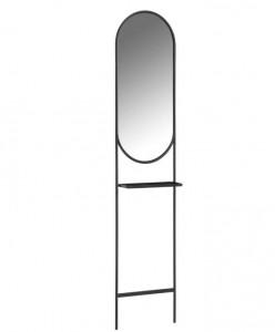 Oglinda ovala neagra din metal si sticla 41x184 cm Zelma La Forma