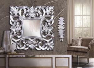 Oglinda patrata din polirasina si sticla 80x80 cm Alia Giner y Colomer