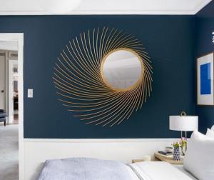 Oglinda rotunda aurie din metal si sticla 90 cm Sun Giner y Colomer
