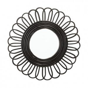 Oglinda rotunda din ratan negru 48 cm Cane Bloomingville