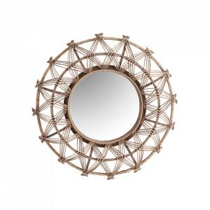 Oglinda rotunda maro din bambus si placaj 60 cm Felicia Vical Home