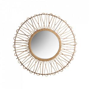 Oglinda rotunda maro din ratan si placaj 84 cm Stevens Vical Home