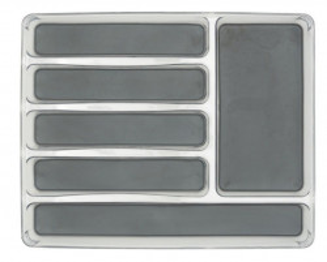 Organizator transparent/gri din plastic pentru tacamuri Cutlery Tray Maxi Wenko