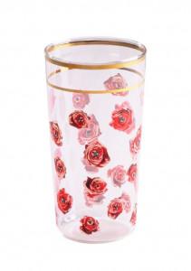 Pahar multicolor din sticla 7x13 cm Roses Toiletpaper Seletti