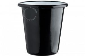 Pahar periute negru din email 9x9 cm Eve Black Zangra