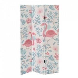 Paravan multicolor din canvas 180 cm Three Leaves Flamingo Unimasa