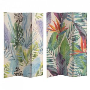 Paravan multicolor din in 120 cm Eleven Leaves Unimasa