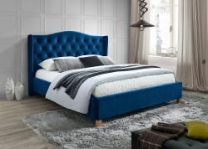 Pat albastru din lemn si catifea 160x200 cm Velvet Aspen Signal Meble
