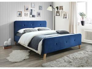 Pat albastru din lemn si textil 160x200 cm Malmo Signal Meble